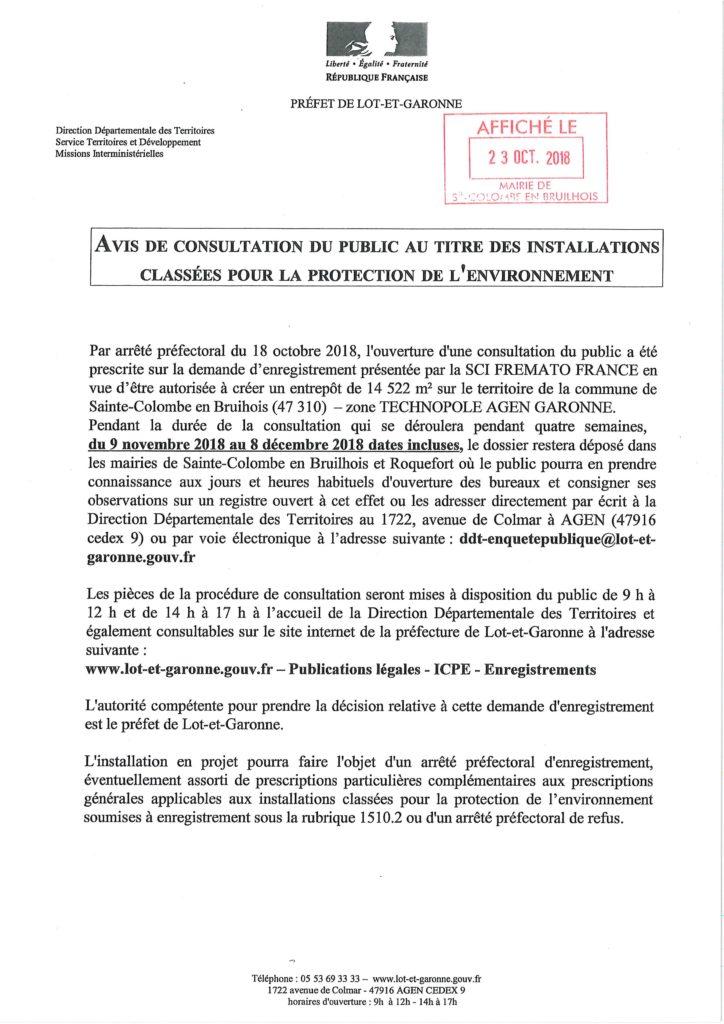 Avis consultation ICPE